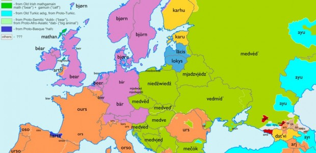 We found an etymology map for Europe: it shows in which countries a certain word has the same root. Did...